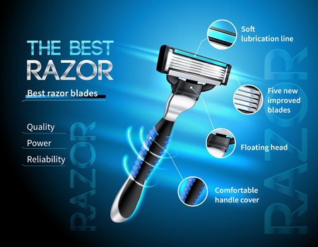 Realistic razor with five blades and floating head advertising poster on gradient blue background vector illustration Illustration