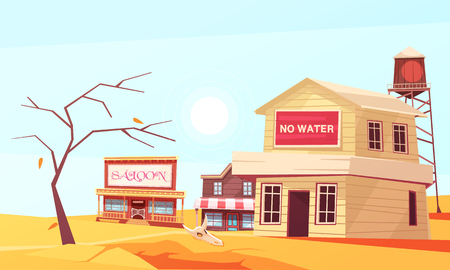 Natural disasters composition with village in desert suffering from drought with houses and dried up tree vector illustration