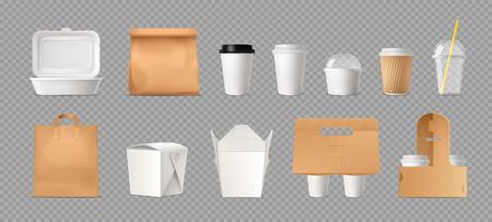 Transparentes Set der Fast-Food-Verpackung mit Papiertüten und -boxen und realistischen Vektorillustrationen der Plastikbecher