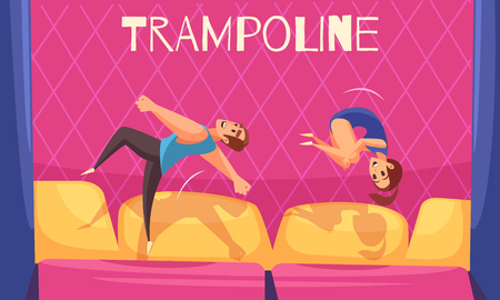 Jumping trampolines horizontal background with editable text and flat human characters of man and woman vector illustration