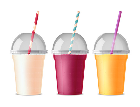 Three colored takeout fast food plastic glasses for drink juice cola tea or smoothie with pipe and transparent cover isolated vector illustration