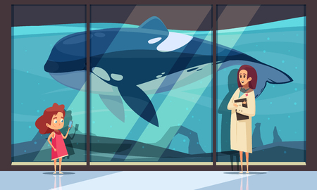 Composición horizontal del delfinario con la pared del acuario del hotel y personajes humanos femeninos de la ilustración de vector de intérprete y adolescente