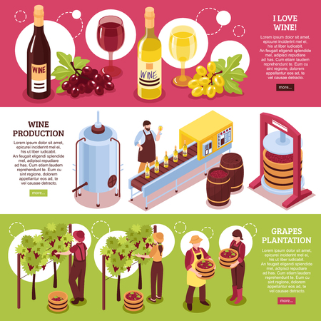 Winery isometric horizontal banners red and white wine production of drink and grapes plantation isolated vector illustration