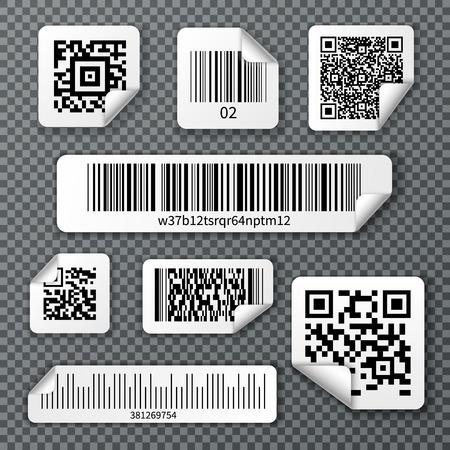 Reeks stickers qr en lineaire streepjescodes met gebogen hoek op transparante achtergrond geïsoleerde vectorillustratie