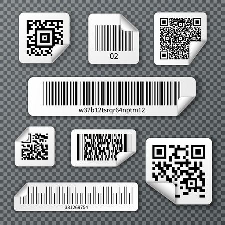Set of stickers qr and linear bar codes with bent corner on transparent background isolated vector illustration