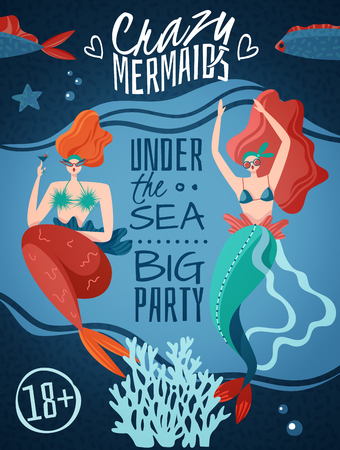 Crazy mermaids 18 plus party announcement poster with 2 red haired sexy sea life creatures vector illustration