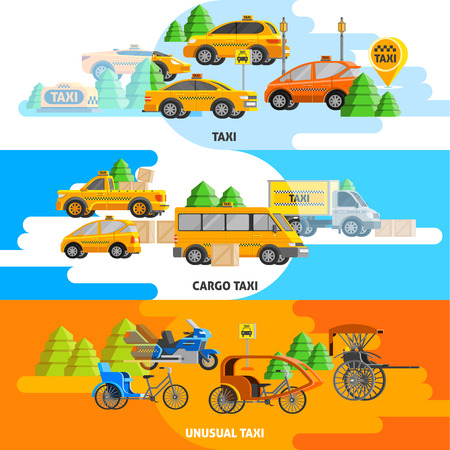 Taxi service horizontal banners with vehicles of land transport in flat style vector illustration