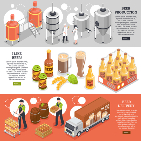 Beer production distribution consumption 3 isometric horizontal website banners with brewing process and delivery service vector illustration