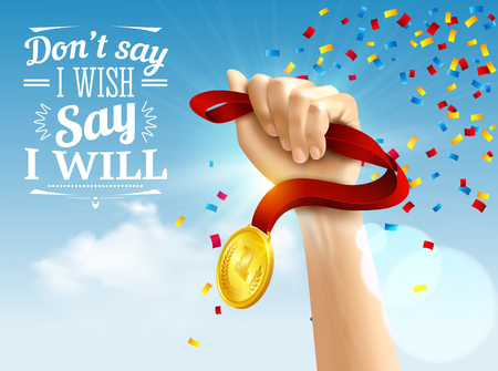 Achievement quotes with success medal and goal symbols realistic vector illustration