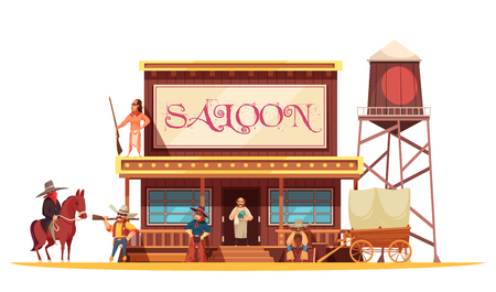 Cowboy composition with wild west scenery and vintage style building of barrel house with shop sign vector illustration