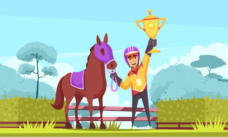 Equestrian sport horizontal composition with outdoor scenery and flat character of winner horseman with golden cup vector illustration