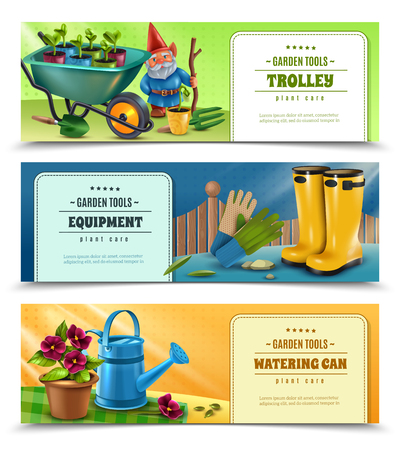 Gardener tools equipment accessories 3 horizontal colorful background banners with wellingtons wheelbarrow watering can isolated vector illustration