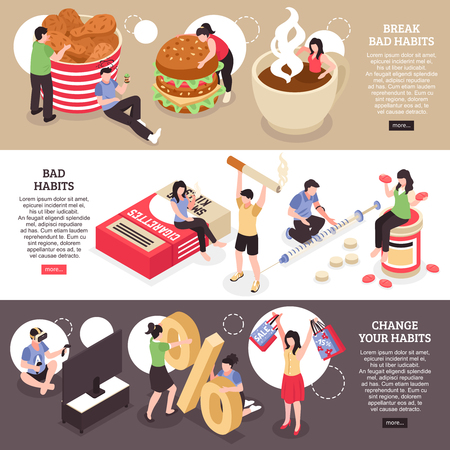Set of isometric horizontal banners  food abuse smoking and drug changing of bad habits isolated vector illustration