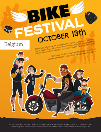 Bike festival poster with people from subcultures metalheads and motor riders on orange background cartoon vector illustration