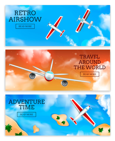 Retro airshow and travel agency airlines advertisement 3 realistic horizontal banners with flying aircraft isolated vector illustration Illustration