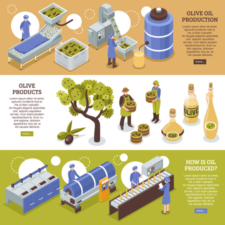 Olive harvesting conservation and oil production process 3 isometric horizontal banners web page design isolated vector illustration Foto de archivo - 103664963