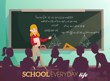 Daily life in school, teacher near board with geometric information and silhouettes of students cartoon vector illustration