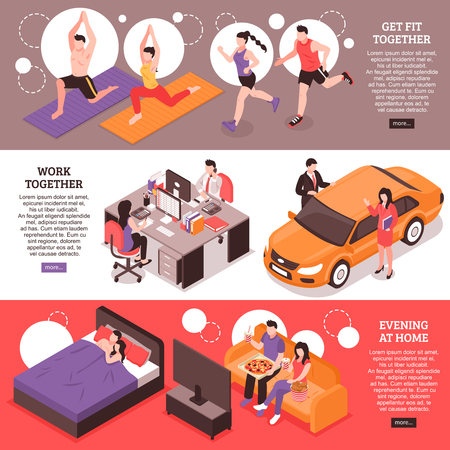 Daily routine for couple isometric horizontal banners fitness and work together evening at home isolated vector illustration