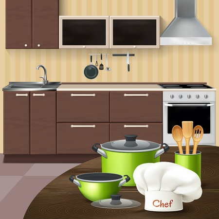 Kitchen interior with realistic green cookware wooden tools and chef hat on brown table vector illustration Stock Illustratie