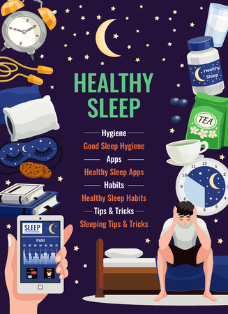 Healthy sleep poster with alarm clock orthopedic pillow cup of herbal tea flat icons at night starry sky background vector illustration Illustration