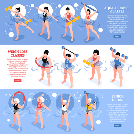 Set of isometric horizontal banners aqua aerobics classes including senior group blue white background isolated vector illustration