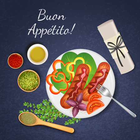 Bbq grilled sausages served with various kinds of sauce vegetables and herbs realistic vector illustration Foto de archivo - 103669460