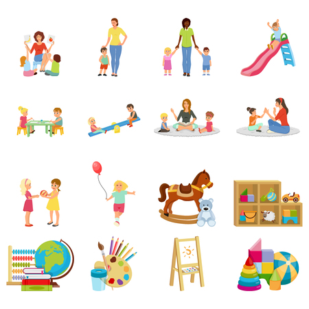 Kindergarten set of flat icons with babysitter and kids, swing, toys, paints and books isolated vector illustration