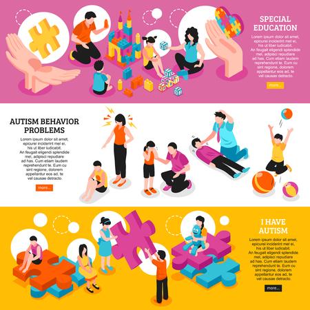 Zestaw izometryczny poziome bannery świadomość autyzmu edukacja specjalna i problemy z zachowaniem na białym tle ilustracji wektorowych