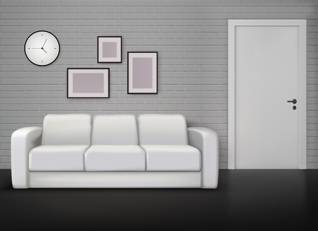 Monochrome home interior design with gray wall white coach black floor contemporary and vintage realistic vector illustration