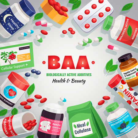 Biological active additives colorful background framing of blister packs and jars with medication for health and beauty vector illustration