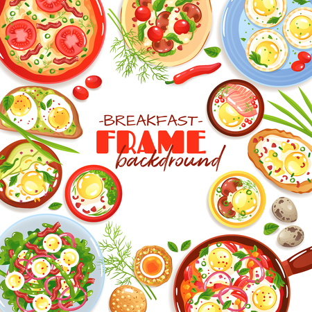Decorative frame with colorful egg dishes for breakfast top view on white background flat vector illustration
