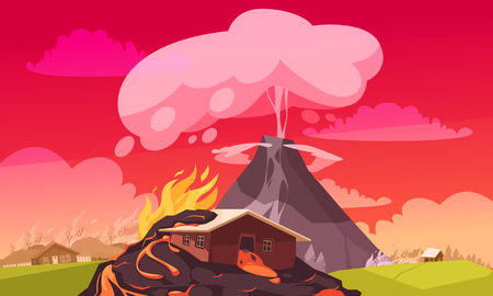 Natural disasters eruption composition of flat cartoon style landscape with burning houses and convulsion of nature vector illustration