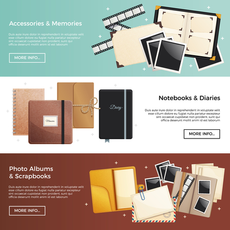 Accessories and memories horizontal banners with photo albums scrapbooks notebooks diaries decorative elements vector illustration