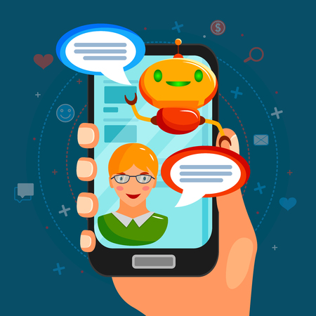 Chat bot flat composition with conversation between program and user on smart phone screen vector illustration