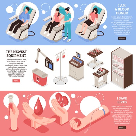 Set of isometric horizontal banners blood donor saving of lives modern medical equipment isolated vector illustration