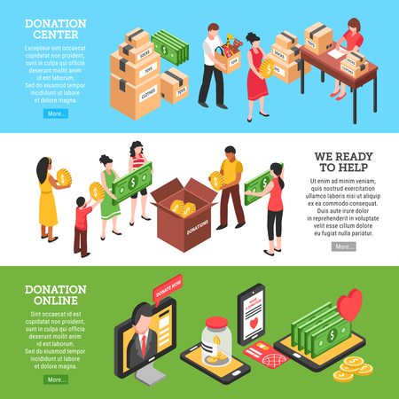 Charity horizontal banners set of donation center people ready to help and donation online isometric compositions vector Illustration  イラスト・ベクター素材