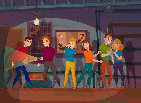 Personajes humanos durante la misión de la búsqueda de la realidad en la ilustración de vector de dibujos animados de espacio oscuro