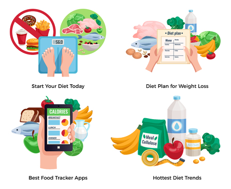Diet for weight loss 2x2 design concept with hottest diet trends and best food tracking app cartoon compositions vector illustration