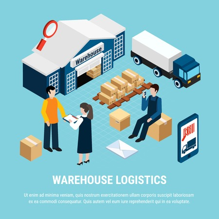 Warehouse logistics isometric concept with delivery workers on blue background 3d vector illustration