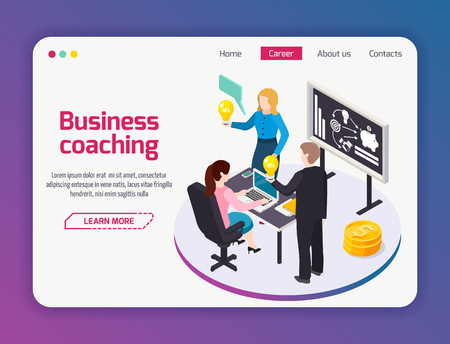 Business coaching landing page of web site with menu and isometric composition brain storming vector illustration Illustration