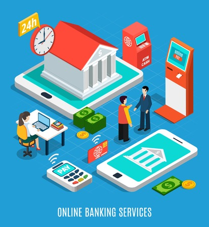 Online banking services isometric composition on blue background with 24h, payment equipment, staff vector illustration