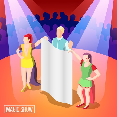 Magic show isometric background, illusionist behind curtain under light rays on stage with viewers vector illustration