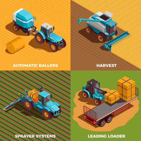 Agricultural machines isometric concept icons set with baler and sprayer isolated vector illustration