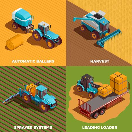 Iconos de concepto isométrico de máquinas agrícolas con empacadora y pulverizador aislado ilustración vectorial