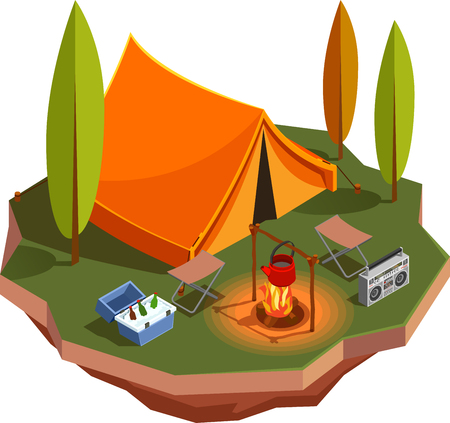 Camping hiking isometric icons composition with view of forest meadow with tent and kettle on campfire vector illustration