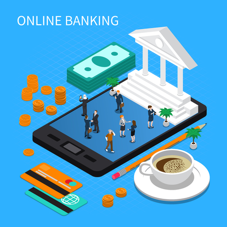 Online banking isometric composition with funds, payment cards, coffee, business persons on mobile device screen vector illustration