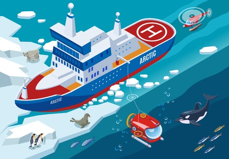 Ice breaker with submarine and helicopter during arctic research, northern sea animals isometric vector illustration