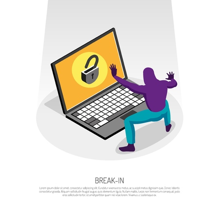 Isometric concept with hacker trying to hack into laptop 3d vector illustration 向量圖像