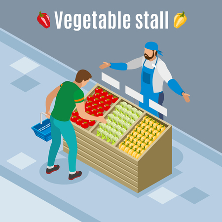 Customer with basket during vegetables purchase isometric background with tomato, paprika, cauliflower on wooden stall vector illustration