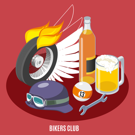 Attributes of bikers isometric composition with wheel, helmet, wrench, drink, billiard ball on red background vector illustration
